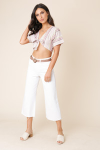 Stone Multi Stripe Linen Tie Front Crop Top