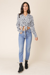 Black and White Heart Print Tie Front Crop Shirt