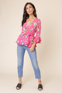 Pink Floral Print Flute Sleeve Wrap Blouse