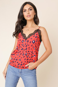 Red Abstract Animal Print Lace Detail Cami Top