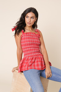 Red Check Cotton Shirred Elastic Top with Ruffle Hem and Straps