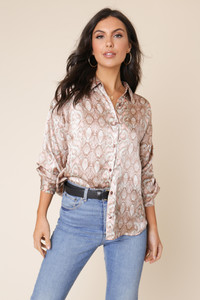 Snake Print Satin Long Sleeve Oversized Shirt