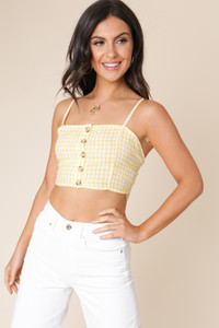 4e1f540bdad2 Yellow and White Gingham Strappy Button Down Crop Top ...