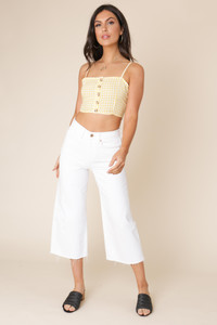 Yellow and White Gingham Strappy Button Down Crop Top