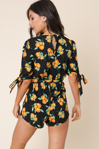 Black Fruit Print Tie Sleeve Playsuit