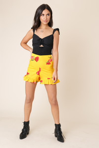 Yellow Floral High Waist Frill Hem Shorts