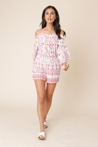 White and Red Paisley Cotton Bardot Playsuit