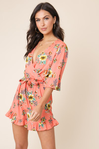 Coral Floral Print Ruffle Hem Wrap Over Playsuit