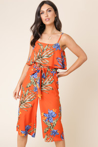 Orange Tropical Print Double Layer Culotte Jumpsuit