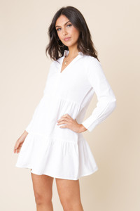 White Linen Cotton Long Sleeve Gathered Smock Dress
