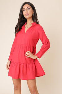 Red Linen Cotton Long Sleeve Gathered Smock Dress