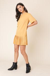 Mustard Pleated Hem Mini Shift Dress