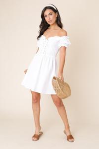White Off the Shoulder Lace Up Detail Skater Dress