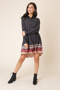 Black Paisley Floral Border Print Dipped Hem Shirt Dress
