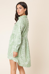 Green Floral Print Dipped Hem Shirt Dress