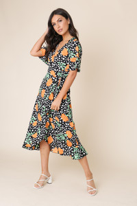 Black Floral and Abstract Spot Wrap Frill Hem Midi Dress