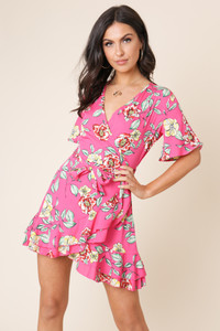 Pink Floral Print Wrap Frill Skirt Mini Dress