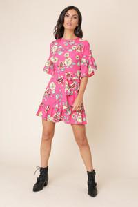 Pink Floral Ruffle Hem Waist Belted Mini Dress