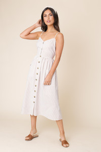 Cotton Stripe Button Down Midi Dress with Slim Straps