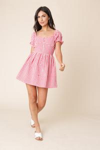 Red and White Gingham Puff Sleeve Milkmaid Mini Dress