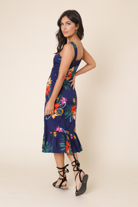 Navy Tropical Print Button Down Ruffle Hem Midi Dress