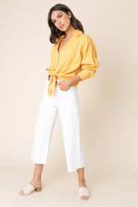 Mustard Cotton Linen Tie Front Shirt with Dropped Shoulder