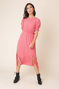 Red Heart Print Shirred Elastic Midi Dress with Splits