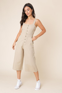 Stone Linen Cotton Button Down Strappy Jumpsuit