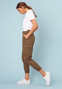 Khaki Utility Style Combat Trousers with Pockets