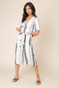 Multi Stripe Double Breasted Button Down Midi Dress