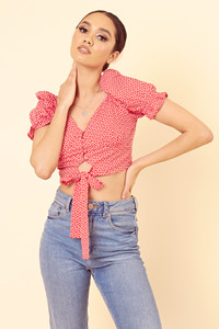 Red Heart Print Puff Sleeve Tie Hem Crop Top