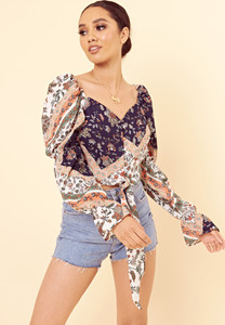 Multi Paisley Floral Print Puff Sleeve Crop Top