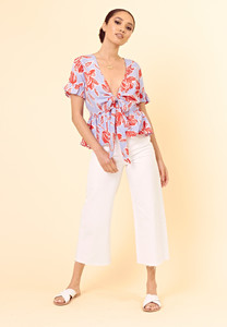 Blue Red Floral Frill Sleeve Tie Front Peplum Top