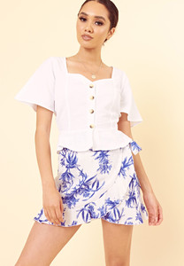 White Blue Floral Print Wrap Mini Skirt with Tie