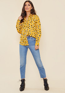 Mustard Large Scale Dalmatian Oversized Shirt