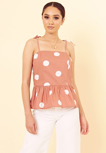 Brown Polka Dot Peplum Hem Strappy Cami Top