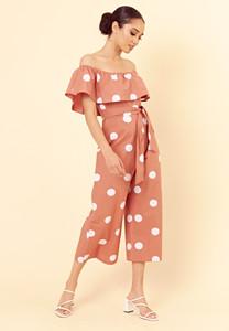 Brown Polka Dot Tie Front Bardot Culotte Jumpsuit