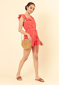 Red Cotton Tie Front Frilled Neckline Button Detail Playsuit