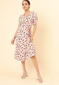 Pink Abstract Animal Print Side Tie Button Down Wrap Midi Dress