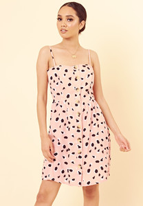Pink Abstract Animal Print Mock Horn Button Detail Strappy Cami Dress