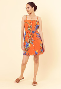 Orange Tropical Print Mock Horn Button Detail Strappy Cami Dress