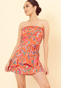 Orange Paisley Tie Front Bandeau Mini Dress with Ruffle Edge