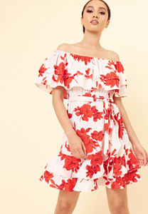 White Red Floral Bardot Ruffle Hem Mini Dress with Belt