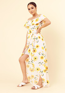 White Yellow Summer Floral Bardot Maxi Dress