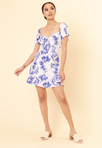 White Blue Floral Sweetheart Neckline Tie Front Mini Dress