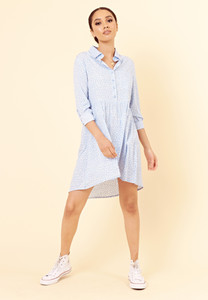 Blue White Spot Floral Dipped Hem Shirt Dress