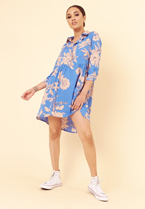 Blue Large Floral Dipped Hem Shirt Dress