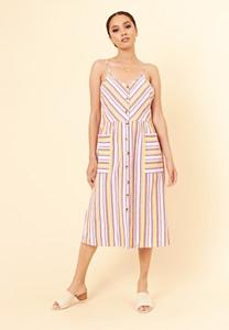 Multi Stripe Cotton Button Down Strappy Summer Dress