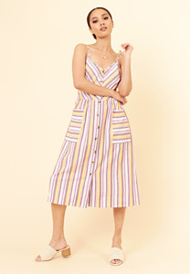 Multi Stripe Cotton Button Down Strappy Summer Dress
