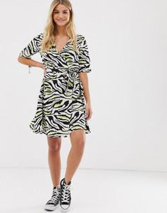 Neon Zebra Animal Print Wrap Frill Dress